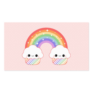 Cute Cupcake Rainbow Double-Sided Standard Business Cards (Pack Of 100)