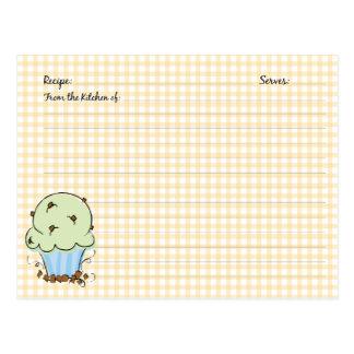 Cute Cupcake Recipe Cards Postcard