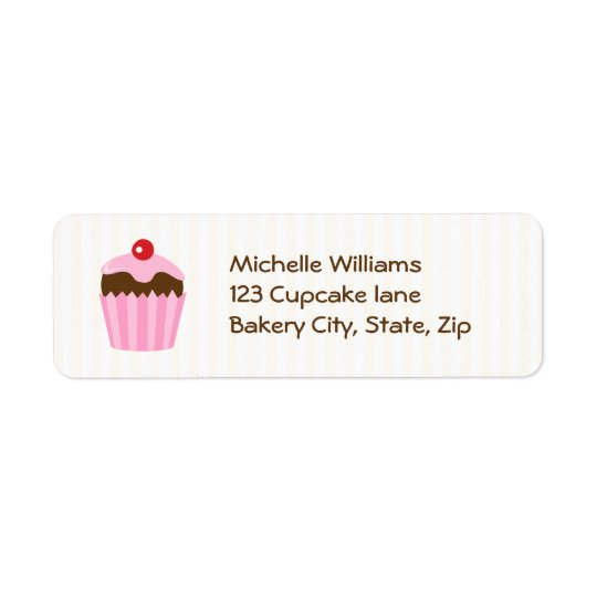 Cute cupcake return address label, pink brown return address label