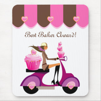 Cute Cupcake Scooter Girl Mousepad Pink
