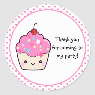 Cute Cupcake Thank You Round Sticker