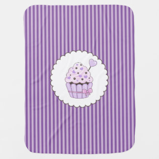 Cute Cupcake With Purple Striped Background Baby Blanket