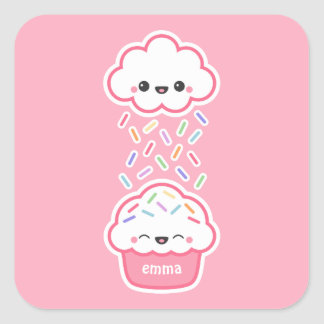 Cute Cupcake with Sprinkles Square Sticker