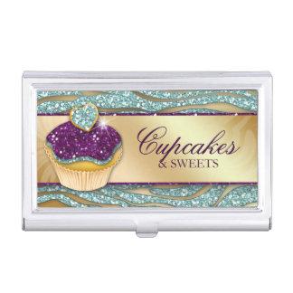 Cute Cupcake Zebra Glitter Bakery Business Card Holder