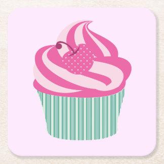 Cute Cupcakes Square Paper Coaster