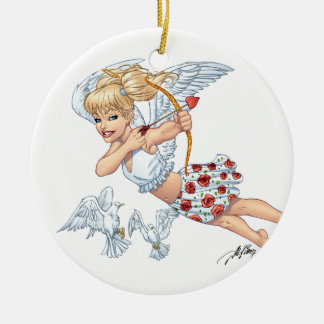 Cute Cupid Angel with Love Arrow by Al Rio Ceramic Ornament
