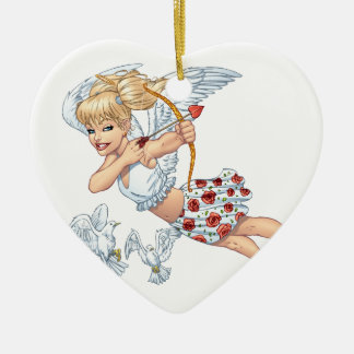 Cute Cupid Angel with Love Arrow by Al Rio Double-Sided Heart Ceramic Christmas Ornament