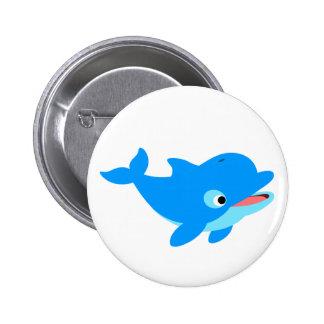 Cute Curious Cartoon Dolphin 6 Cm Round Badge