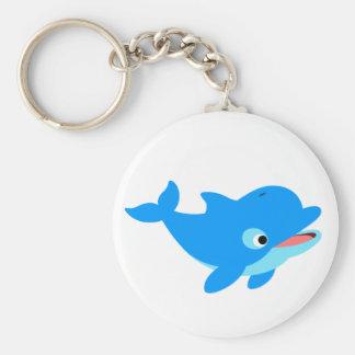 Cute Curious Cartoon Dolphin Basic Round Button Key Ring
