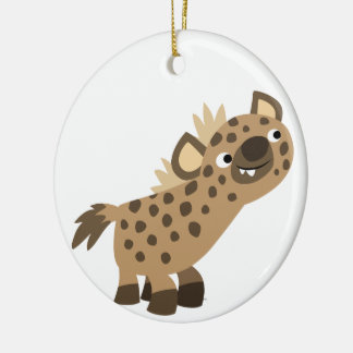 Cute Curious Cartoon Hyena Ornament