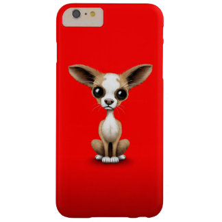 Cute Curious Chihuahua with Large Ears on Red Barely There iPhone 6 Plus Case