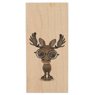 Cute Curious Moose Nerd Wearing Glasses Wood USB 2.0 Flash Drive