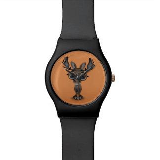 Cute Curious Moose Nerd Wearing Glasses on Brown Watch