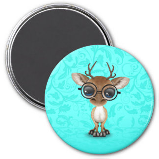 Cute Curious Nerdy Deer Wearing Glasses on Blue 7.5 Cm Round Magnet