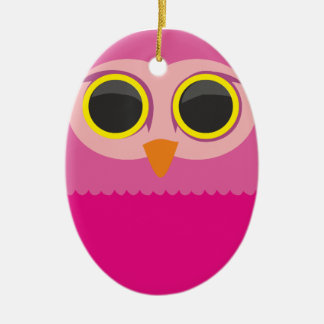 Cute curious owl pink ceramic ornament