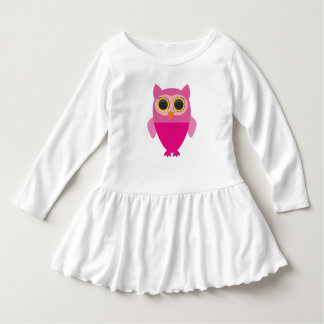 Cute curious pink owl dress