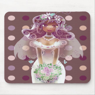 Cute Curly Purple Hair Bride Illustration Mouse Pads