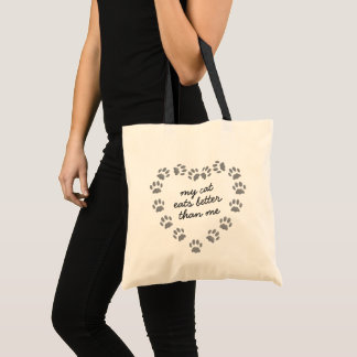Cute Custom Black Cat Paw Print Heart Tote Bag