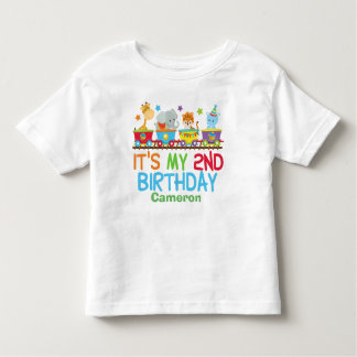 Cute Custom Circus Animal Train 2nd Birthday Toddler T-Shirt