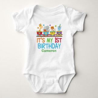 Cute Custom Circus Animal Train Birthday Baby Bodysuit