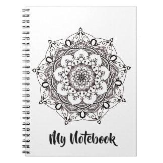 Cute Custom Color Henna Flower Mandala Notebook