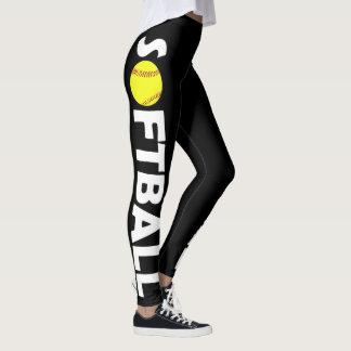 Cute Custom Color Softball Leggings