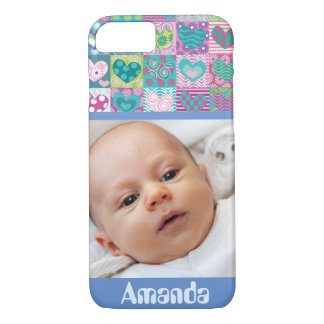 Cute custom decorated hearts photo iPhone 7 case