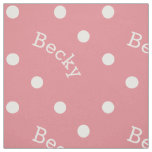 Cute Custom Name Light Pink Polka Dot Girl's Fabric