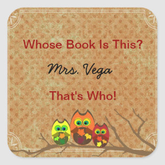 Cute Custom Owl Teacher's Book Plate Book I.D. - Square Sticker