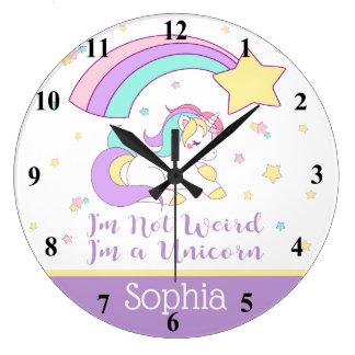 Cute Custom Personalised Magical Rainbow Unicorn Large Clock