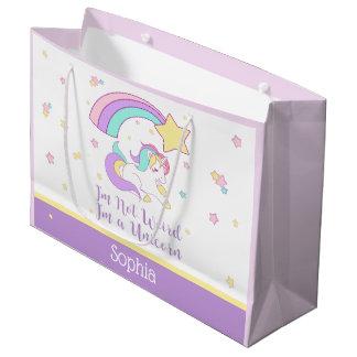 Cute Custom Personalised Magical Rainbow Unicorn Large Gift Bag