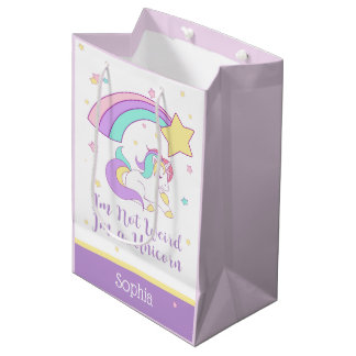 Cute Custom Personalised Magical Rainbow Unicorn Medium Gift Bag