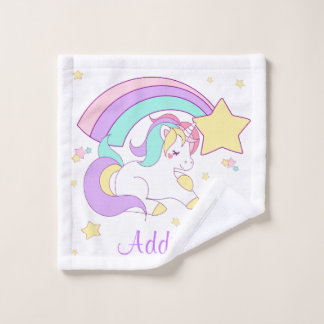 Cute Custom Personalized Magical Rainbow Unicorn Wash Cloth