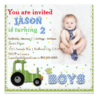 Cute Custom Photo Boys' Invitation Card