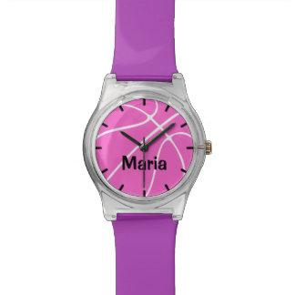 Cute Custom Pink Girl's Basketball Watch