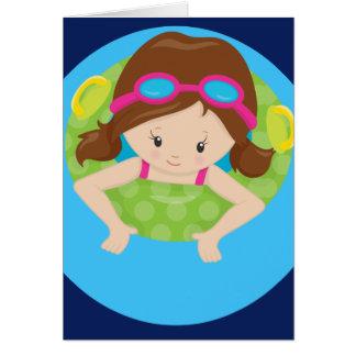 Cute Custom Swim Girl Card