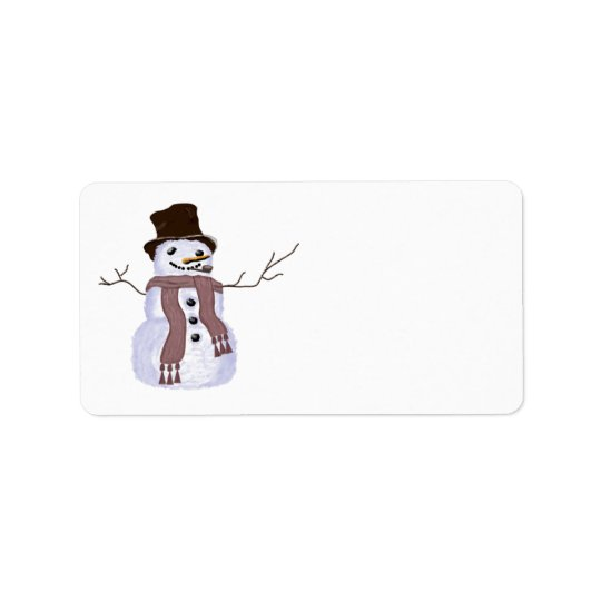 Cute Customisable Winter Snowman Address Label