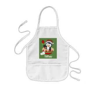 Cute customizable Christmas baking penguin apron