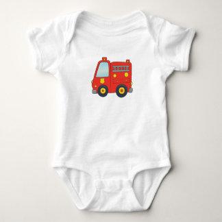 Cute Customizable Firetruck Baby Bodysuit