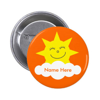 Cute Customizable Happy Sun Orange Name Tag 6 Cm Round Badge