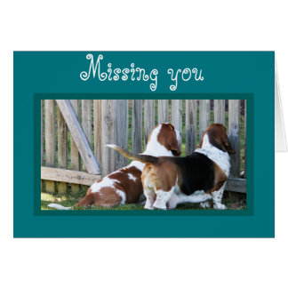 """Cute Customizable """"Missing You"""" Card w/Bassets"""