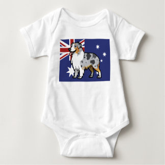 Cute Customizable Pet on Country Flag Baby Bodysuit