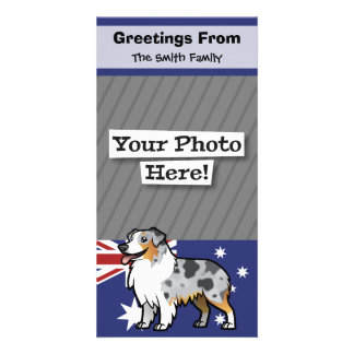Cute Customizable Pet on Country Flag Personalised Photo Card