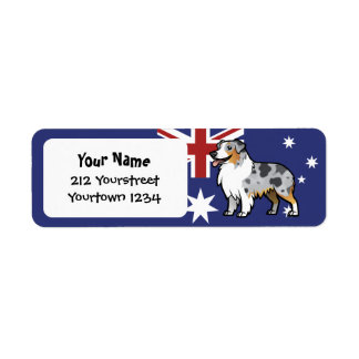 Cute Customizable Pet on Country Flag Return Address Label