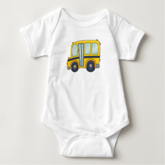 Cute Customizable School Bus Baby Bodysuit
