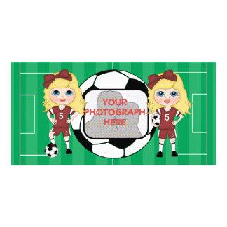 Cute customizable soccer Girls photo cards