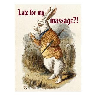 Cute CUSTOMIZABLE White Rabbit Massage Marketing Postcard