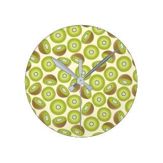 Cute Cut Kiwi Pattern Round Clock