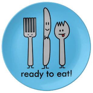 Cute Cutlery Utensils Fork Knife Spork Spoon Happy Plate