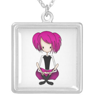Cute Cyberpunk Goth Girl with Cerise Pink Hair Personalized Necklace